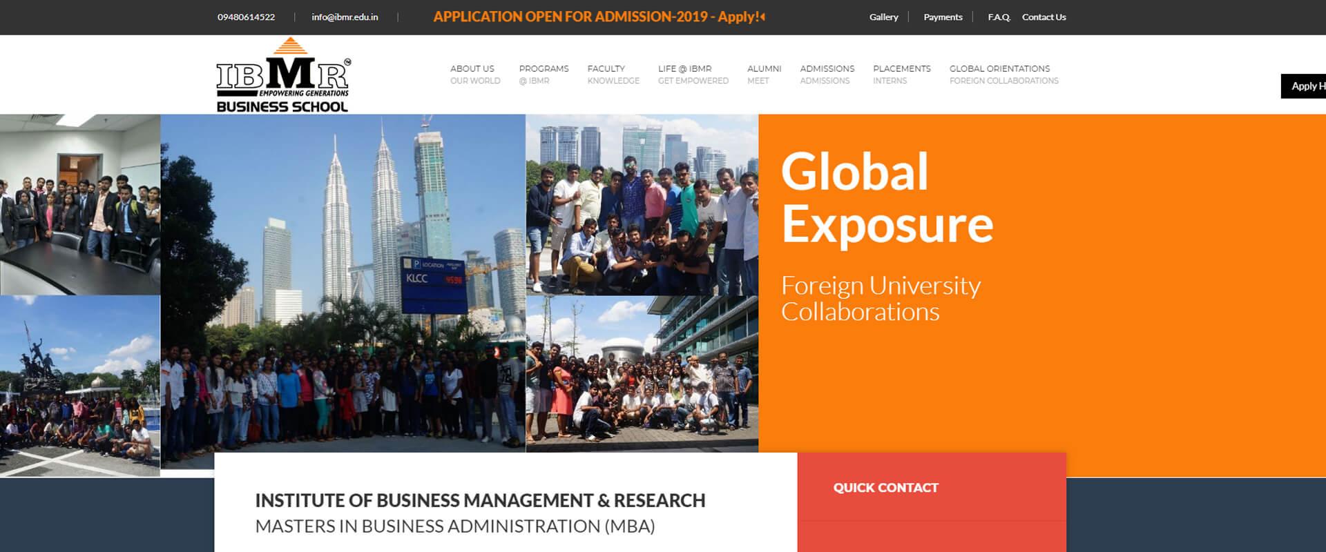 IBMR Website Design Layout