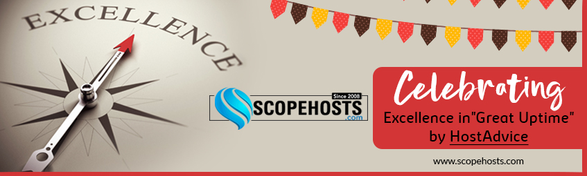 "ScopeHosts been awarded ""GREAT UPTIME"" Award by Hostadvice"
